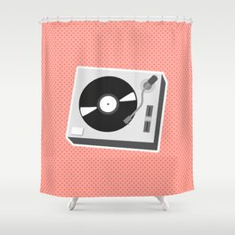 Turntable Red Shower Curtain