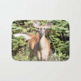 Watercolor Deer, Eastern Whitetail 01, Cape Breton, Canada, The Tail Flick Bath Mat