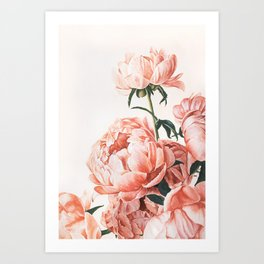 Watercolor Peony Flowers Art Print | Pretty Floral Bouquet | Pink Aesthetic Art Print