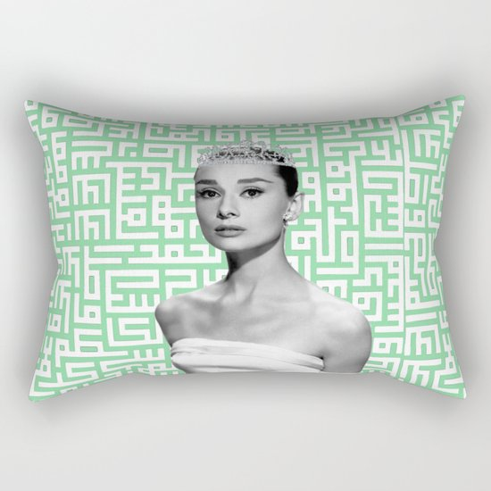 audrey with arabic calligraphy background Rectangular Pillow