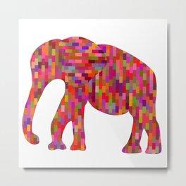 Bright orange mosaic elephant Metal Print
