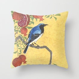Siberian Robin On A Pomegranate Tree - Vintage Japanese Woodblock Print Art By Ohara Koson Throw Pillow