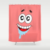 patrick Shower Curtains featuring Patrick Starr by Pink Berry Patterns
