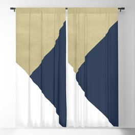 Gold meets Navy Blue & White Geometric #1 #minimal #decor #art #society6 Blackout Curtain