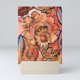 SASSY Lines floral acrylic watercolor ink Mini Art Print