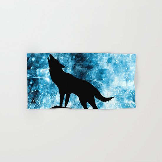 Howling Winter Wolf snowy blue smoke Hand & Bath Towel