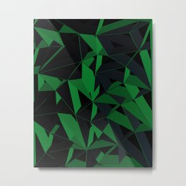 3D Futuristic Geometric Background (Green) Metal Print
