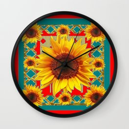 Red & Teal Sunflowers Pattern Art Wall Clock