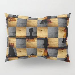Wooden Chessboard and Chess Pieces  pattern Pillow Sham