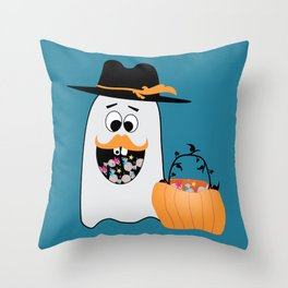 Silly Halloween Ghost Wants Your Candy Throw Pillow