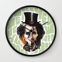 johnny depp Wall Clocks featuring Johnny Depp by Owen Ballesteros