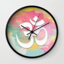Crown Chakra Symbol & Delicate Watercolor Wall Clock