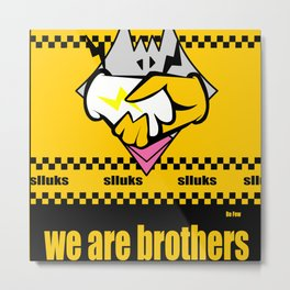 Cartoon chicken logo handshake design Metal Print