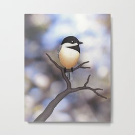 Marley the black-capped chickadee Metal Print