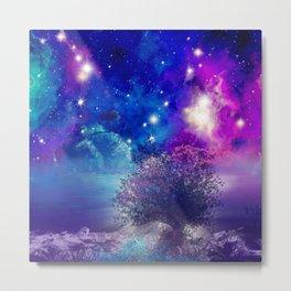 purple blue galaxy landscape Metal Print
