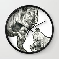jurassic park Wall Clocks featuring jurassic by BzPortraits