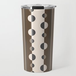 Geometric Circles and Stripes in Brown and Tan Travel Mug
