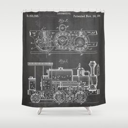 Steam Train Patent - Steam Locomotive Art - Black Chalkboard Shower Curtain