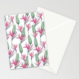 Pink strelitzia Stationery Cards