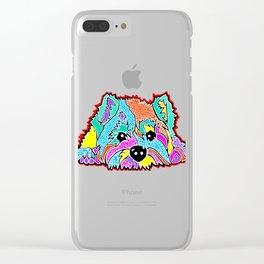 Cotton Candy Dots Westie West Highland Dog Pet Terrier Scottish Scotland Cairn Border Glen Fox Kerry Clear iPhone Case