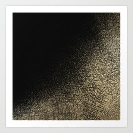 Modern abstract black gold watercolor brushstrokes Art Print
