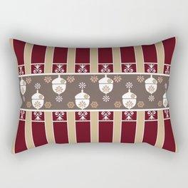 Oak Red Beige Lined Decorative Design Rectangular Pillow