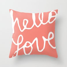 Hello Love Coral Throw Pillow