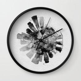 Singapore Black and White Skyround / Skyline Watercolor Painting Wall Clock