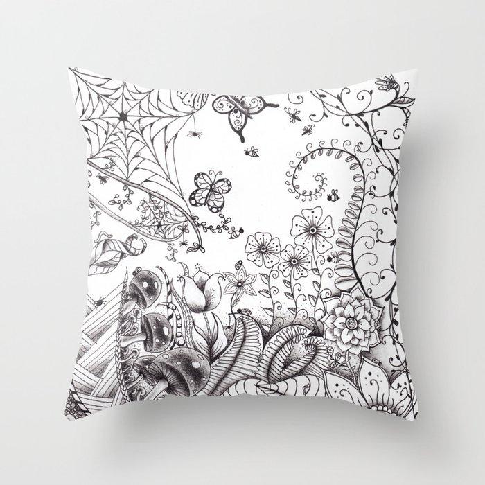 Garden Doodle 2 Throw Pillow