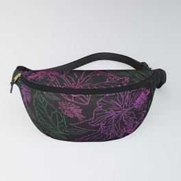 Neon colors floral on Black Fanny Pack