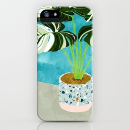 Variegated Monstera #tropical #painting #nature iPhone Case
