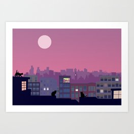 Stray cats on the roofs Art Print
