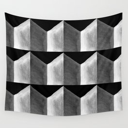 Black White and Grey Geometric Tile Pattern Wall Tapestry