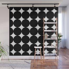 Black circles and white stars Wall Mural