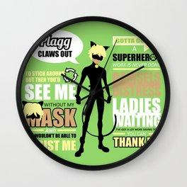 Cat Noir Quotes Wall Clock