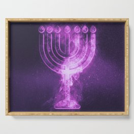 Hanukkah menorah symbol. Menorah symbol of Judaism. Abstract night sky background. Serving Tray