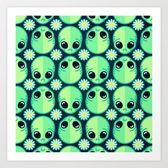 Sad Alien and Daisy Nineties Grunge Pattern Art Print
