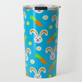 Easter Bunny and Carrots Pattern Travel Mug