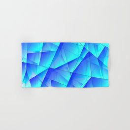 Abstract celestial pattern of blue and luminous plates of triangles and irregularly shaped lines. Hand & Bath Towel