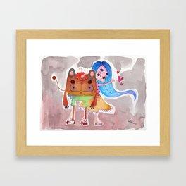 Little girl and a monster Framed Art Print