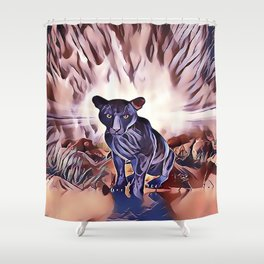 Black Panther Fire Cat Shower Curtain