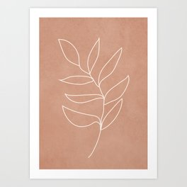 Engraved Leaf Line Art Print
