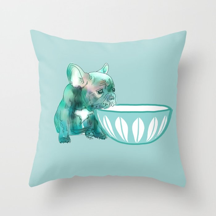 Dog with bowl #1 Blue Throw Pillow