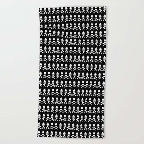 Skull and X-Bones in Black and White (Smaller) Beach Towel