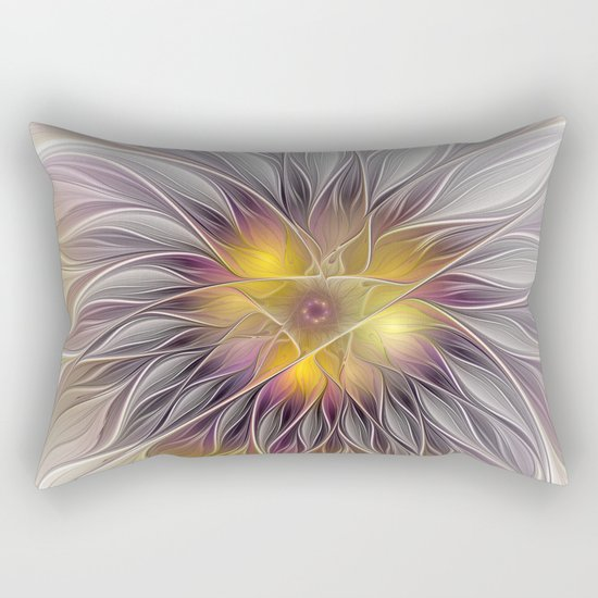 Luminous Flower, Abstract Fractal Art Rectangular Pillow