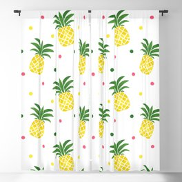 Tropical fruit sunshine yellow green pineapple polka dots Blackout Curtain