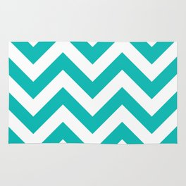 Large chevron pattern / tiffany blue Rug
