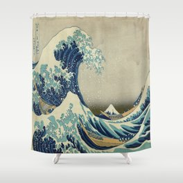 Vintage poster - The Great Wave Off Kanagawa Shower Curtain