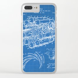 Airplane Jet Engine Patent - Airline Engine Art - Blueprint Clear iPhone Case