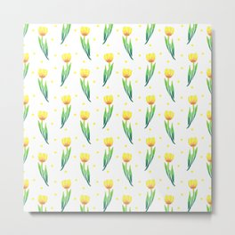 Modern yellow green watercolor tulips polka dots pattern Metal Print
